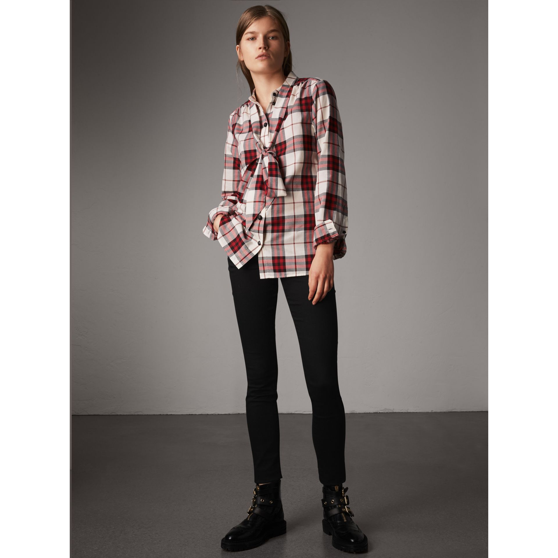 Pussy-bow Check Flannel Shirt in Crimson Red - Women | Burberry - gallery image 5