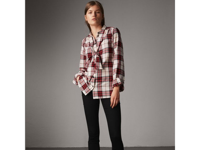Pussy-bow Check Flannel Shirt in Crimson Red - Women | Burberry - cell image 4