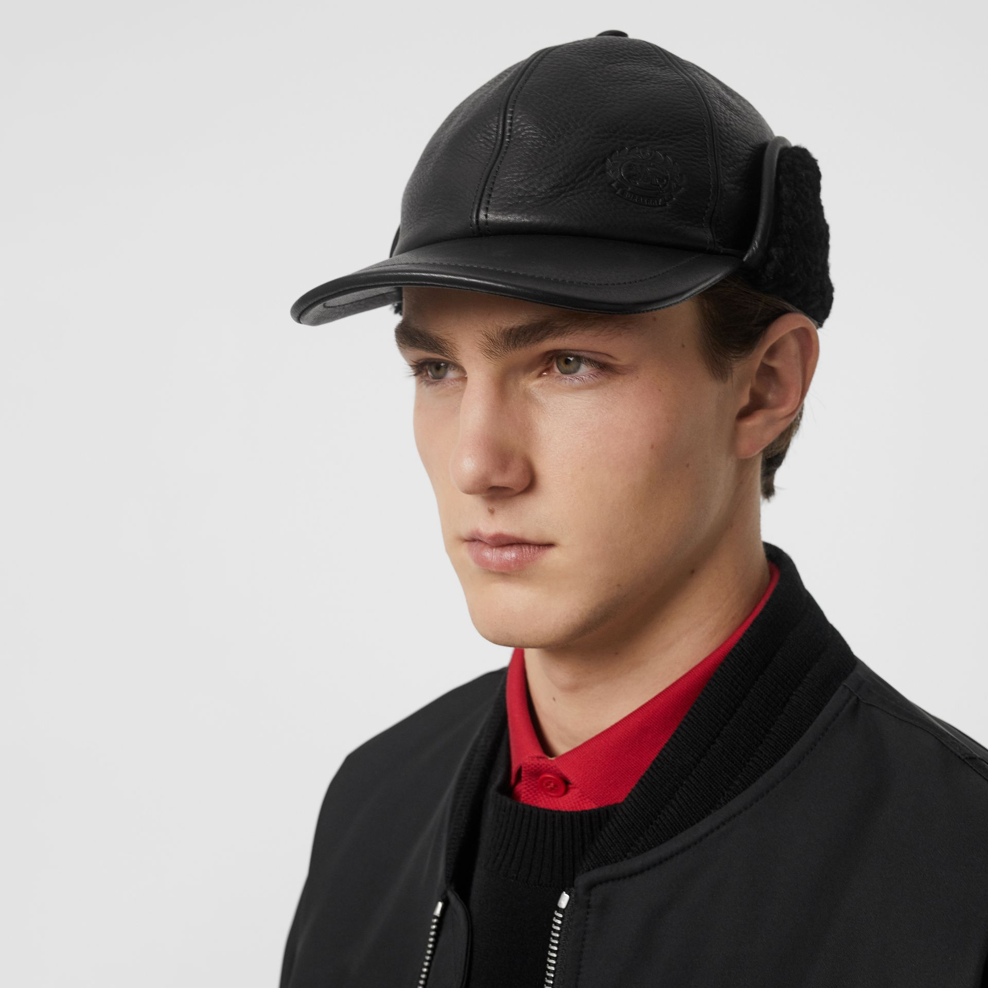 Shearling and Leather Baseball Cap in Black | Burberry Australia - gallery image 2