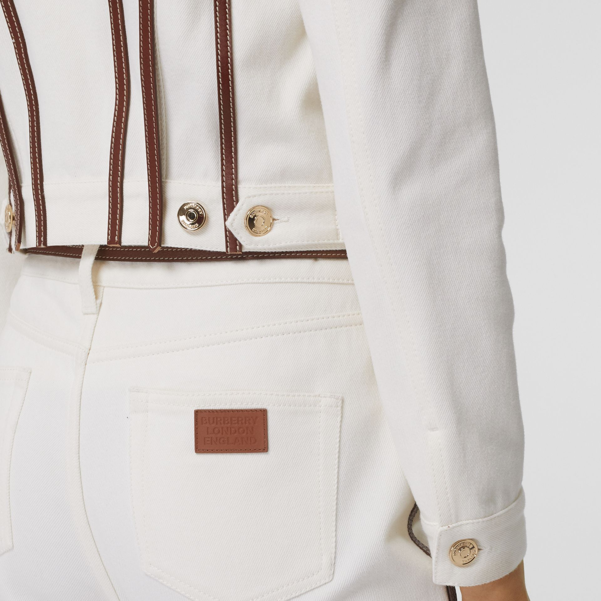 Leather Harness Detail Denim Jacket in Off White - Women | Burberry - gallery image 5