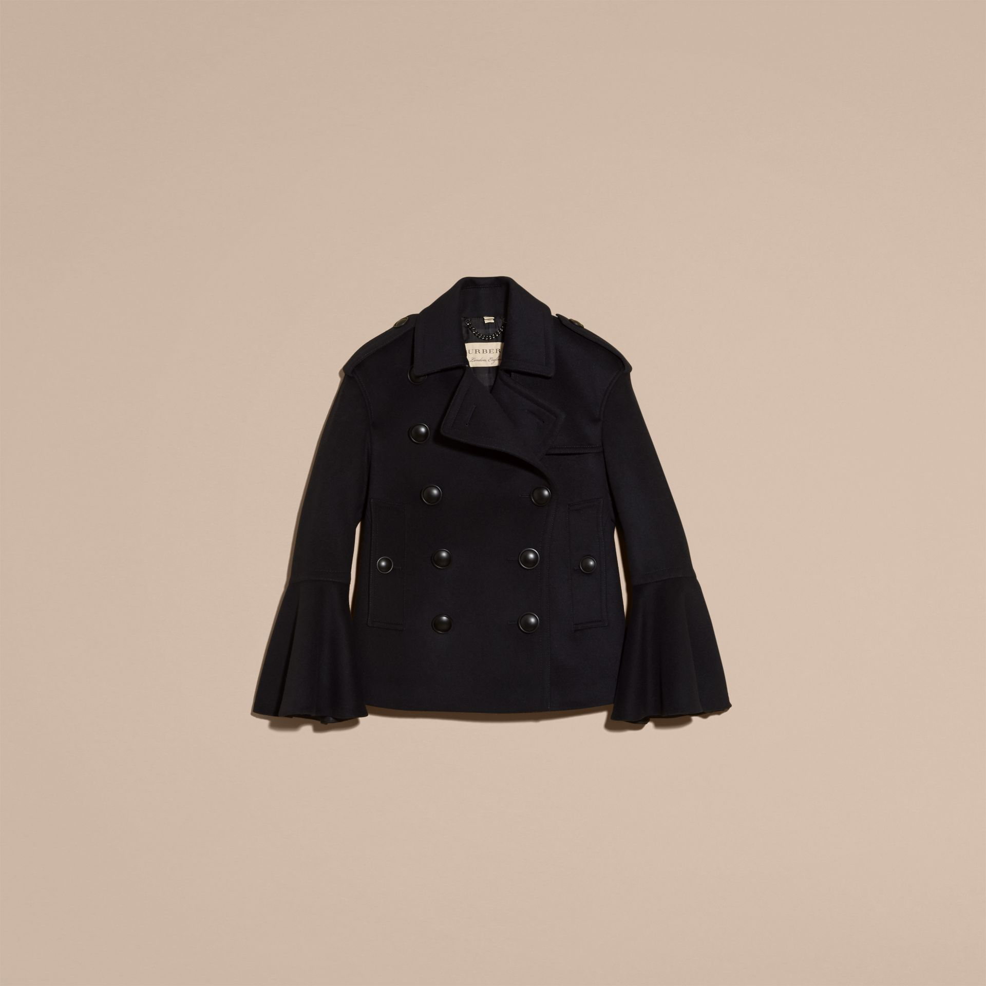 Navy Wool Cashmere Pea Coat with Bell Sleeves - gallery image 3