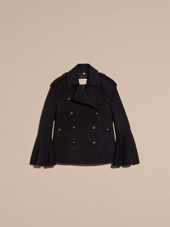Navy Wool Cashmere Pea Coat with Bell Sleeves - cell image 2