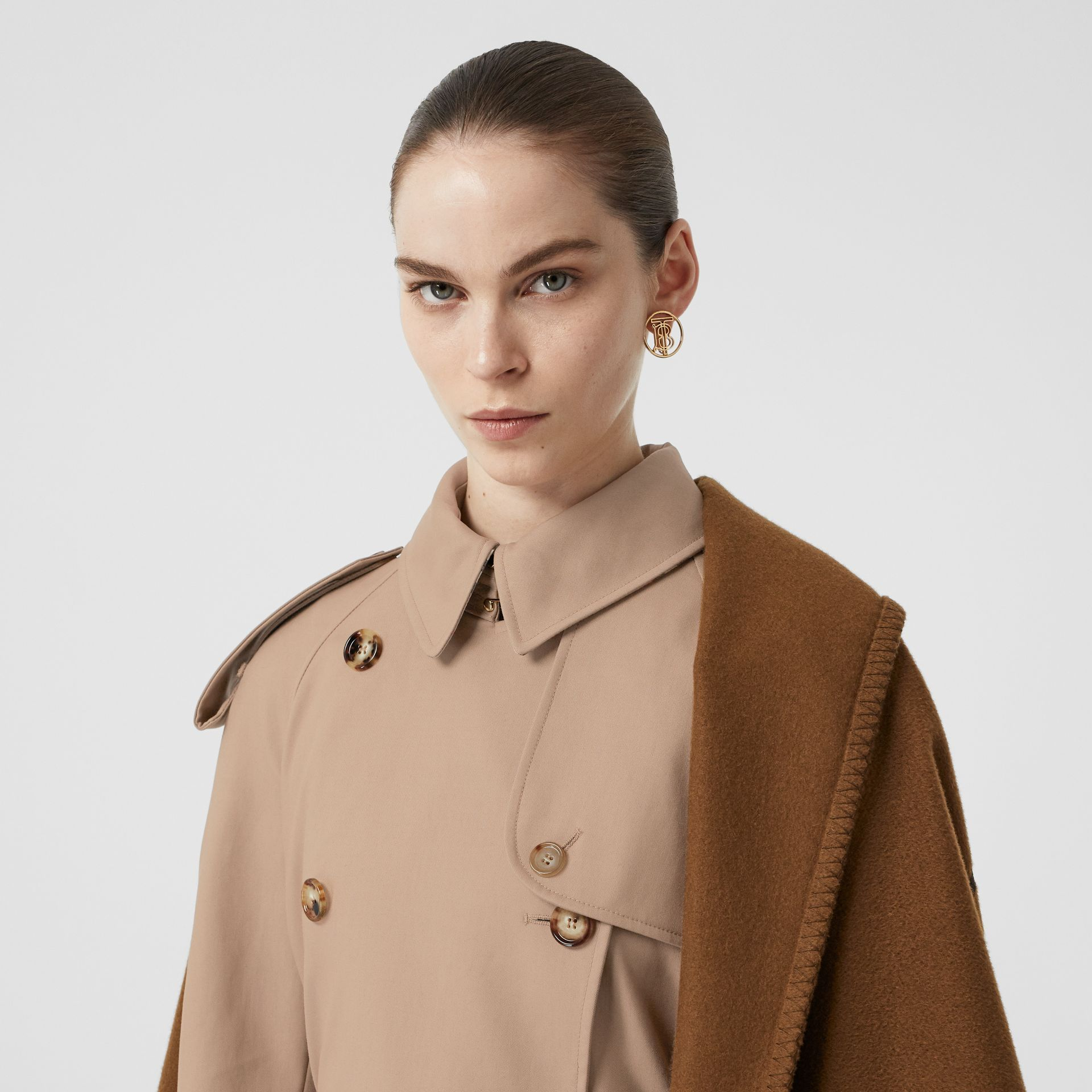 Blanket Detail Cotton Gabardine Trench Coat in Camel - Women | Burberry - gallery image 1