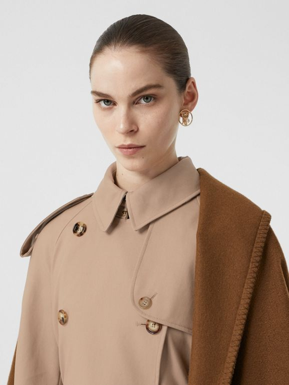 Blanket Detail Cotton Gabardine Trench Coat in Camel - Women | Burberry - cell image 1