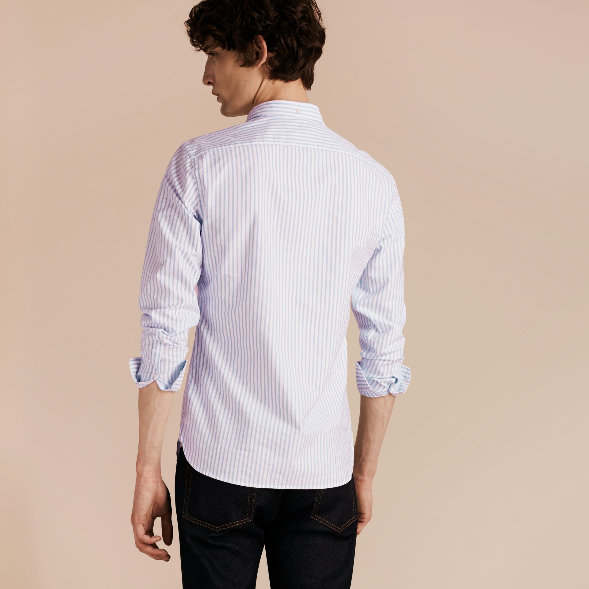 Pale blue Button-down Collar Oxford Stripe Cotton Shirt Pale Blue - gallery image 2
