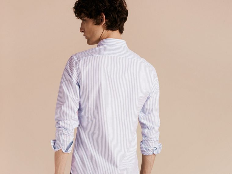 Button-down Collar Oxford Stripe Cotton Shirt Pale Blue - cell image 1