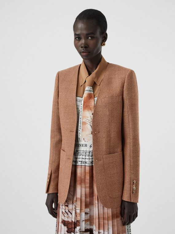 Fish-scale Print Bib Detail Wool Tailored Jacket in Bronze