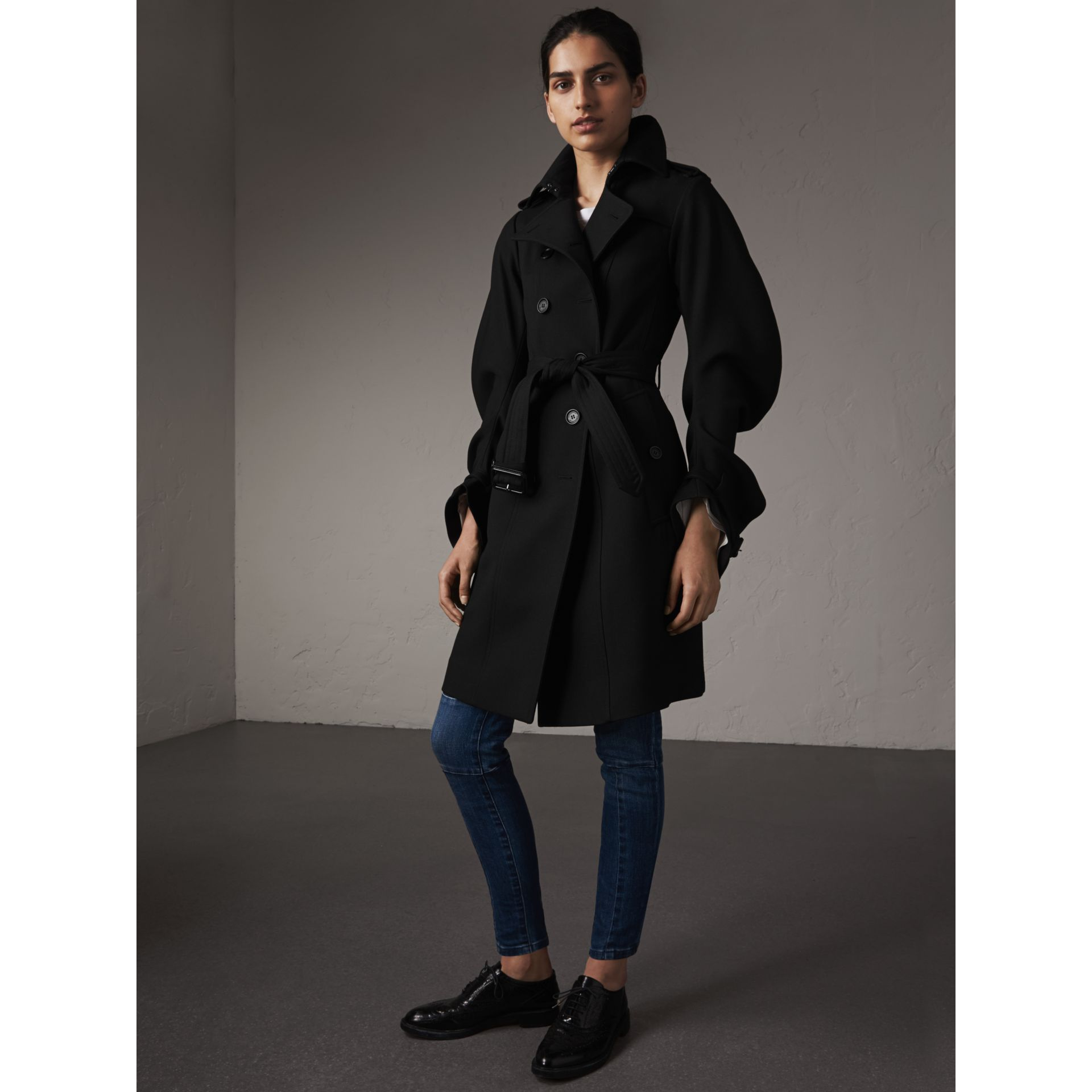 Wool Sculptural Trench Coat in Black - Women | Burberry - gallery image 1