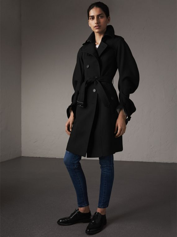 Wool Sculptural Trench Coat in Black