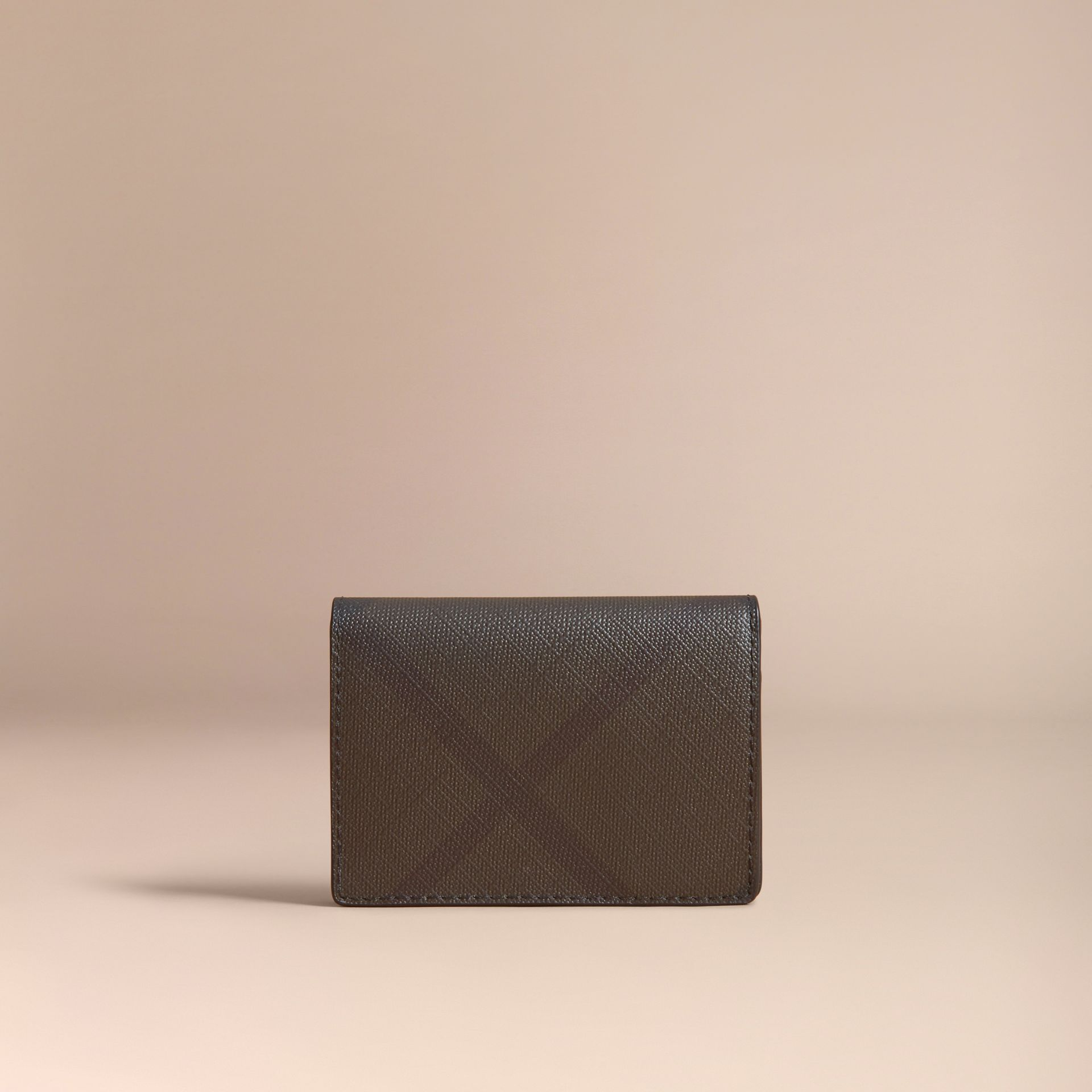 London Check and Leather Folding Card Case in Chocolate/black - Men | Burberry United Kingdom - gallery image 4