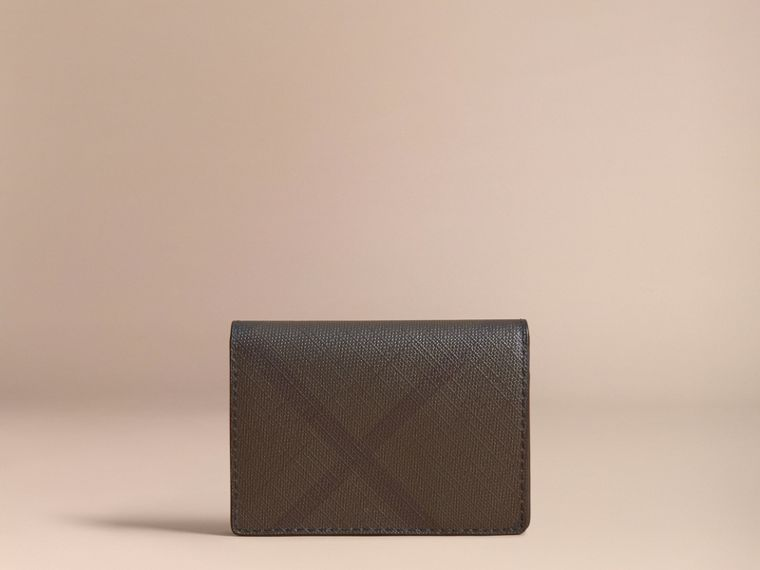 London Check and Leather Folding Card Case in Chocolate/black - Men | Burberry United Kingdom - cell image 4
