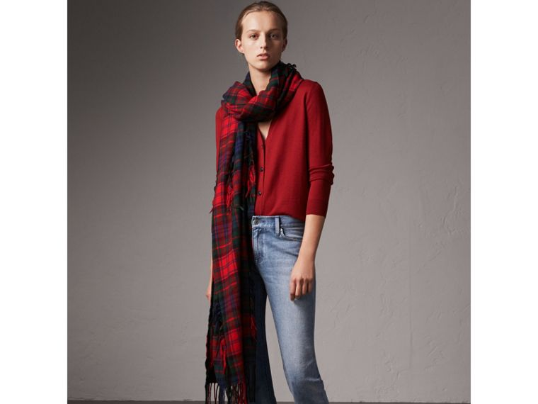 Check Detail Merino Wool Cardigan in Parade Red - Women | Burberry - cell image 4
