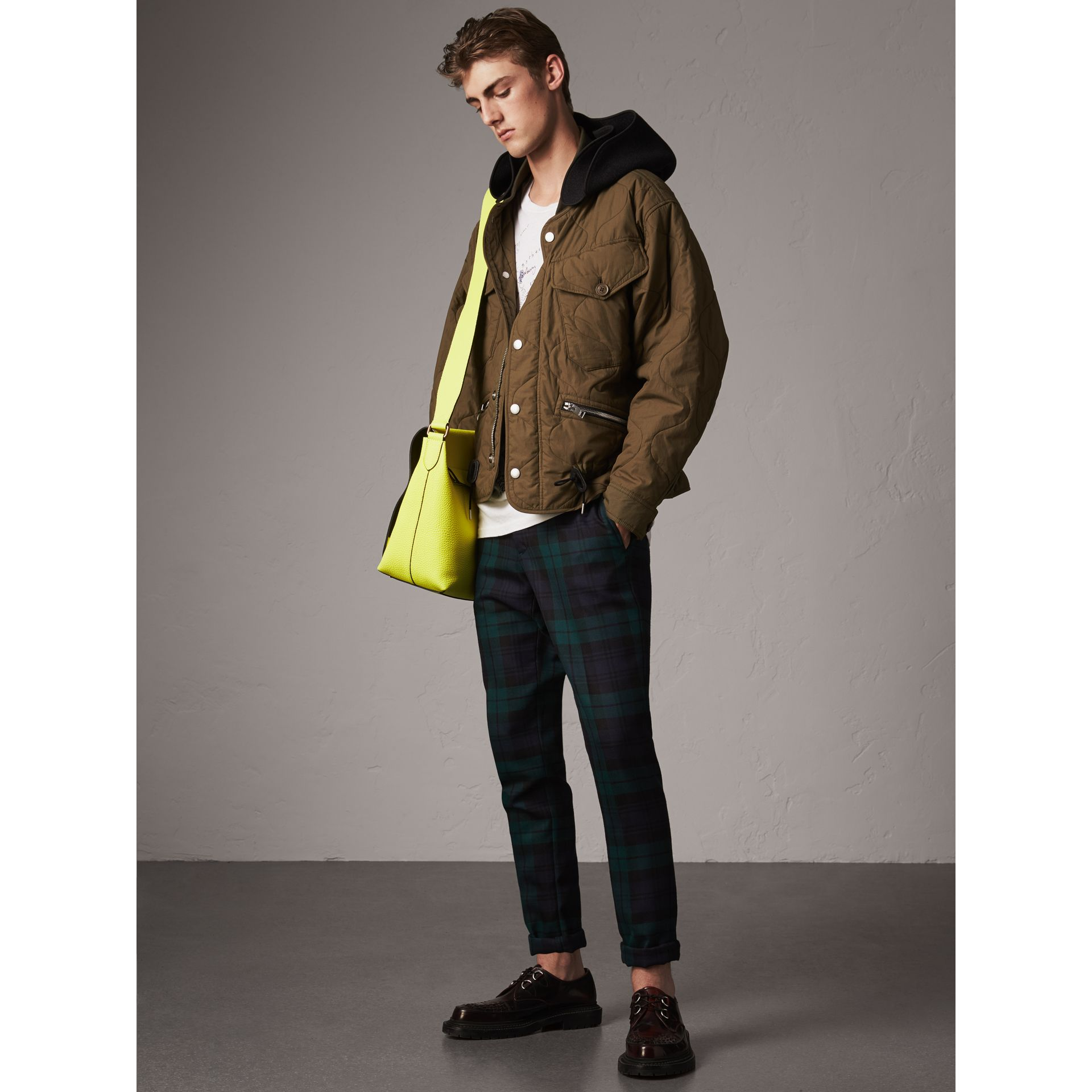 Detachable Hood Quilted Cotton Bomber Jacket in Olive Green - Men | Burberry - gallery image 0