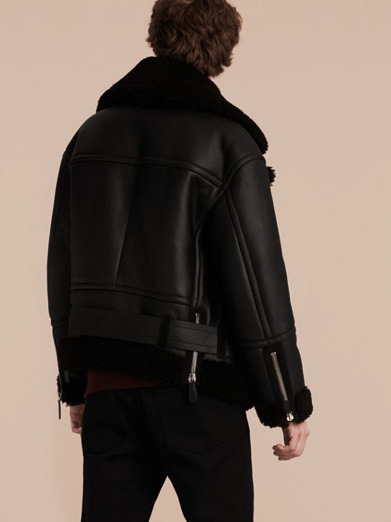Black Oversize Shearling Flight Jacket - cell image 2