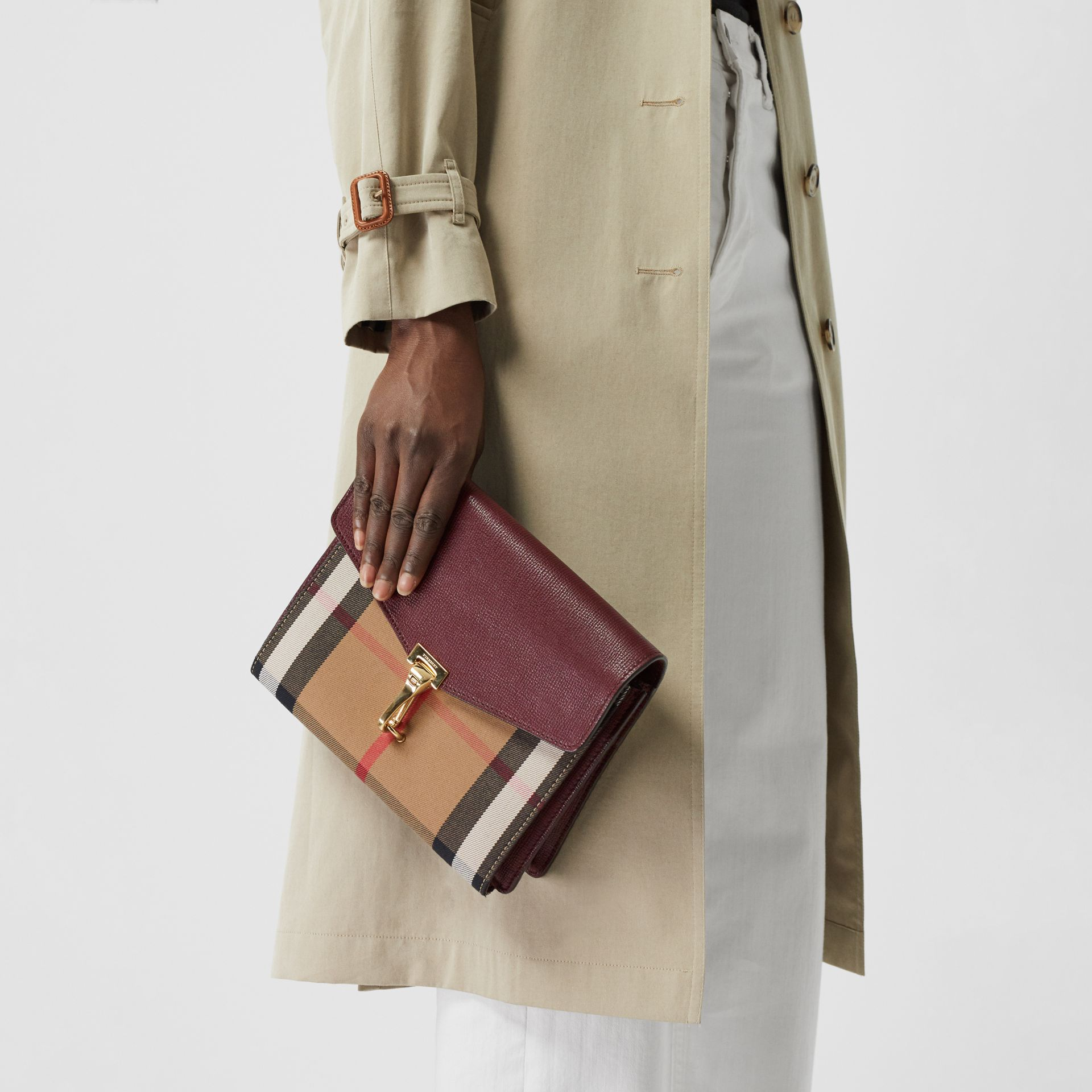 Small Leather and House Check Crossbody Bag in Mahogany Red - Women | Burberry - gallery image 3