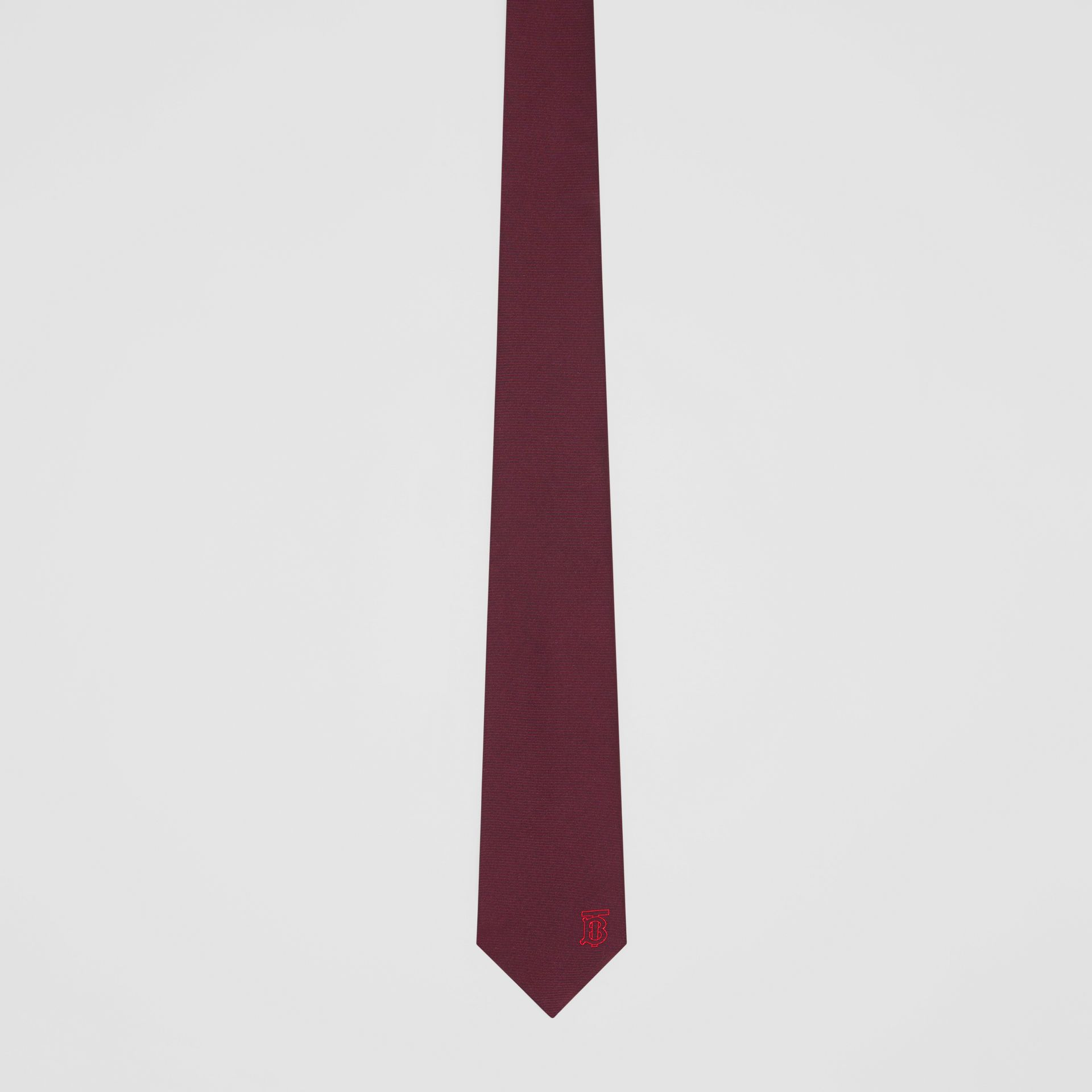 Classic Cut Monogram Motif Silk Tie in Deep Claret - Men | Burberry United Kingdom - gallery image 3