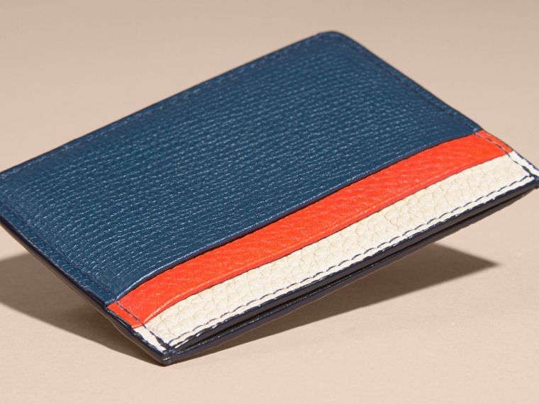 Marine blue Colour Block Leather Card Case - cell image 4