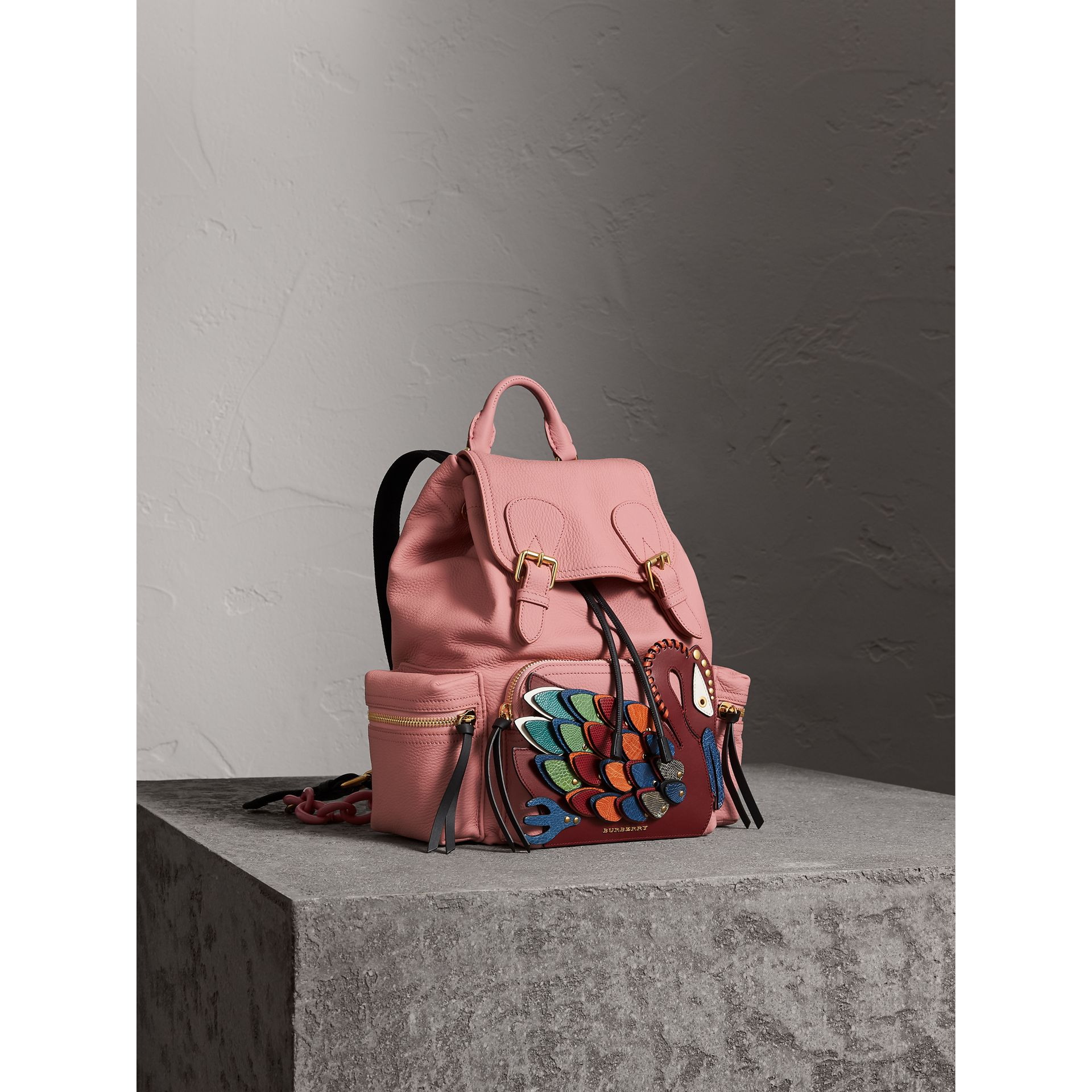 The Medium Rucksack in Deerskin with Beasts Motif in Blossom Pink - Women | Burberry - gallery image 6