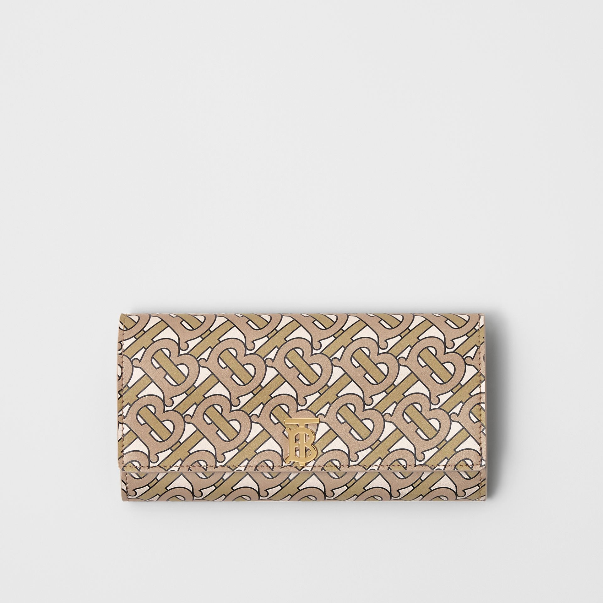Monogram Print Leather Continental Wallet in Beige - Women | Burberry - gallery image 0