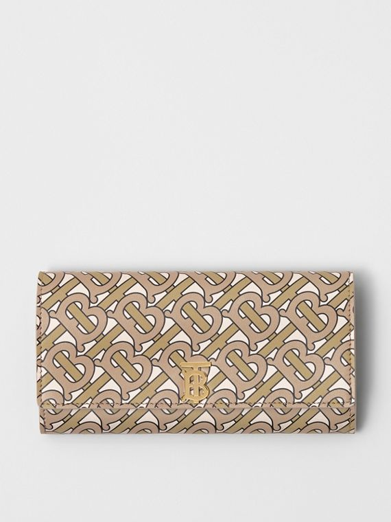 Monogram Print Leather Continental Wallet in Beige