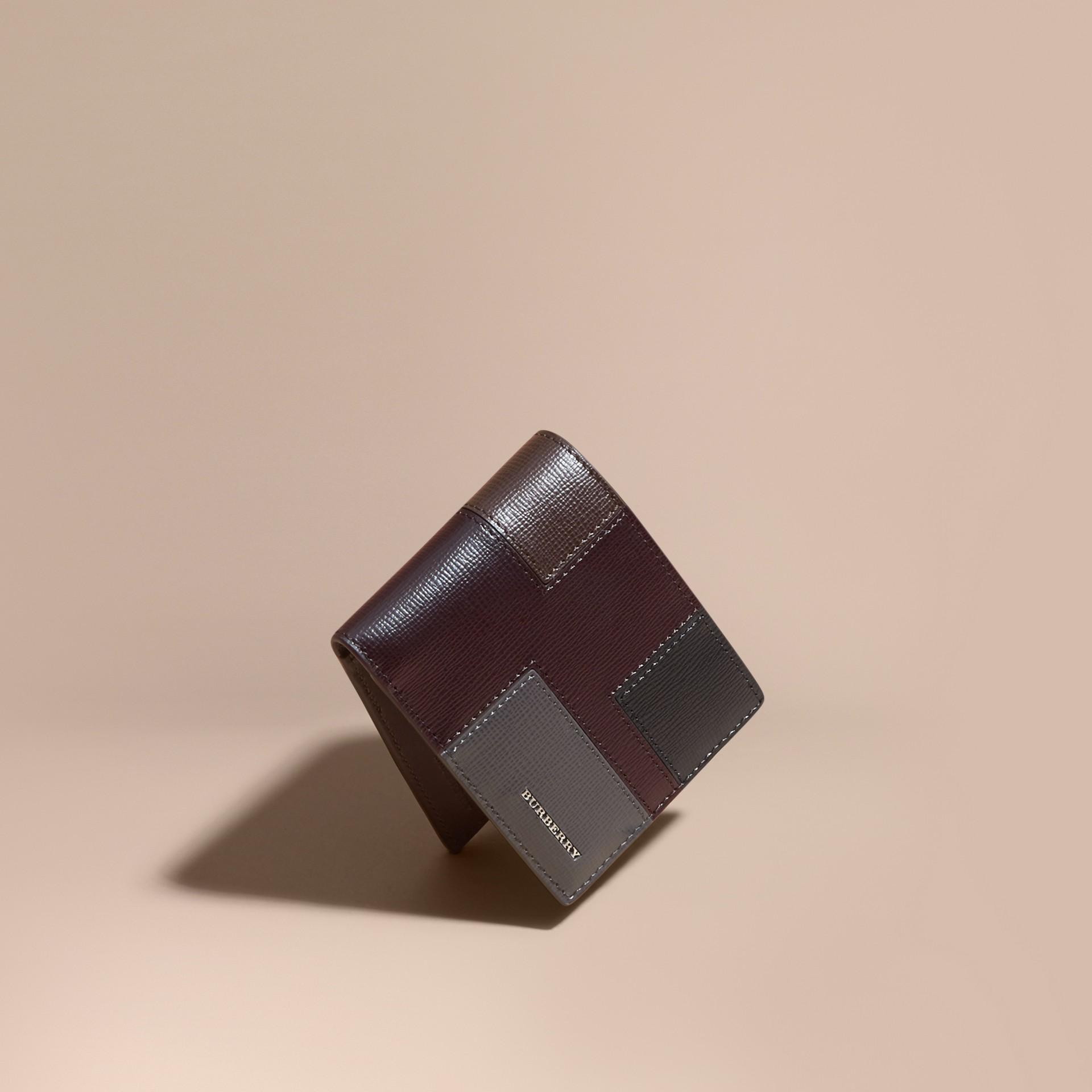 Wine Colour Block London Leather Folding Wallet Wine - gallery image 1