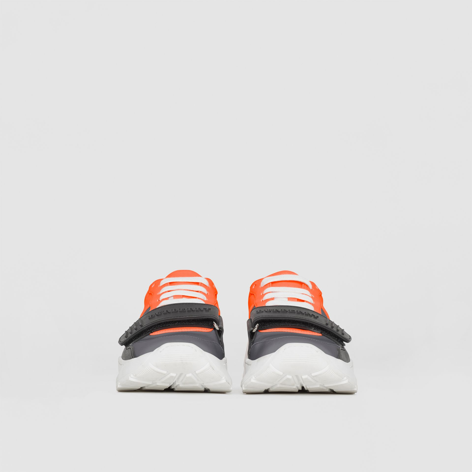 Colour Block Sneakers in Silver Grey/orange - Women | Burberry - gallery image 2