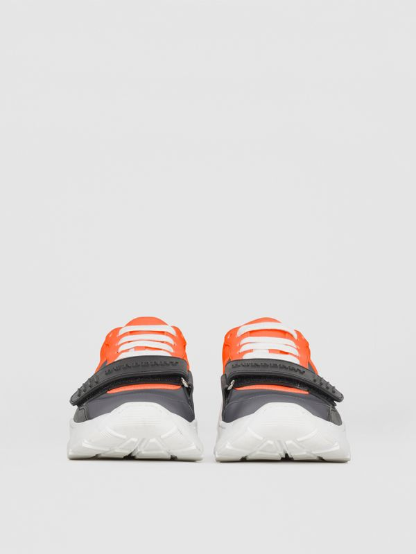 Colour Block Sneakers in Silver Grey/orange - Women | Burberry - cell image 2