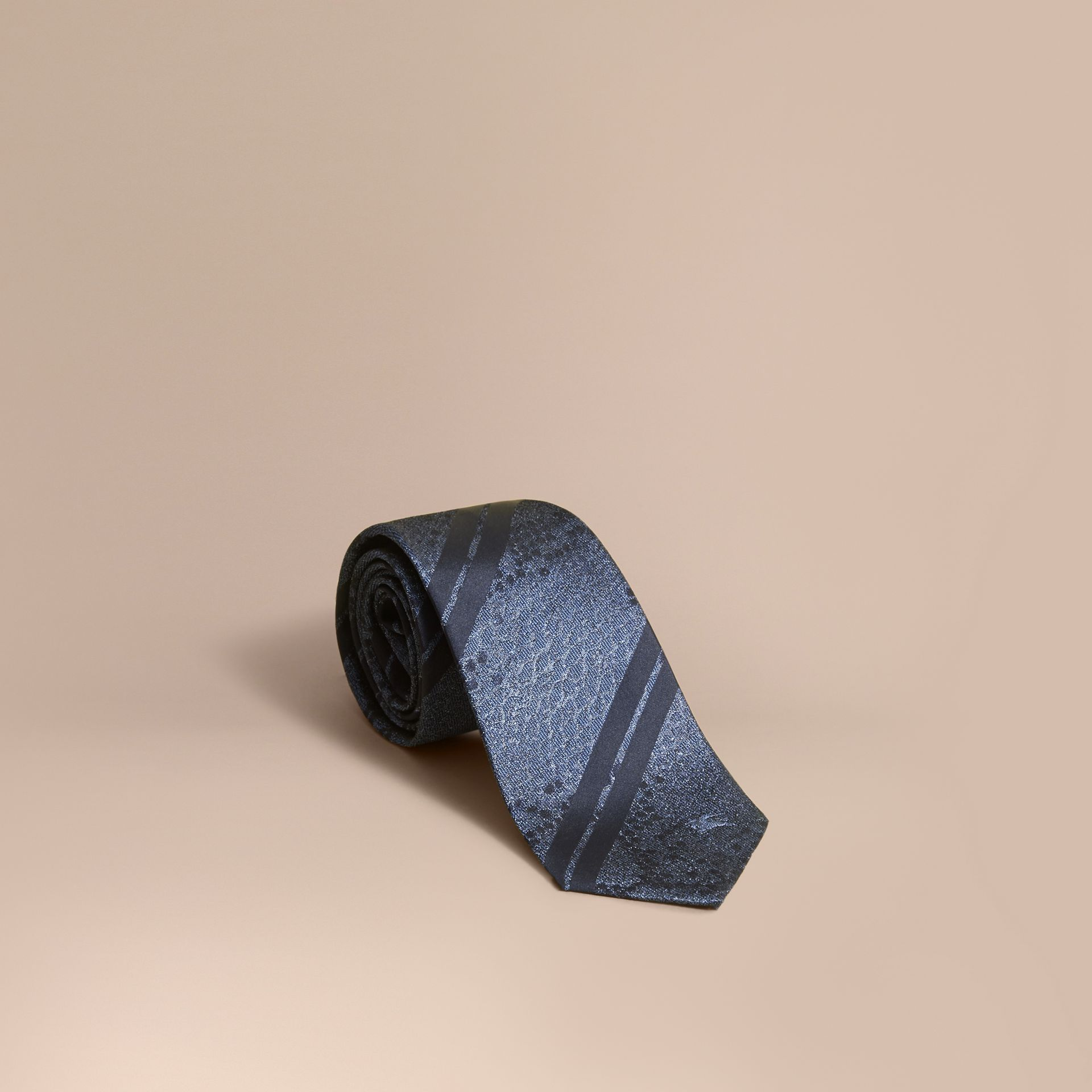 Modern Cut Python Jacquard Silk Tie in Mineral Blue - gallery image 1