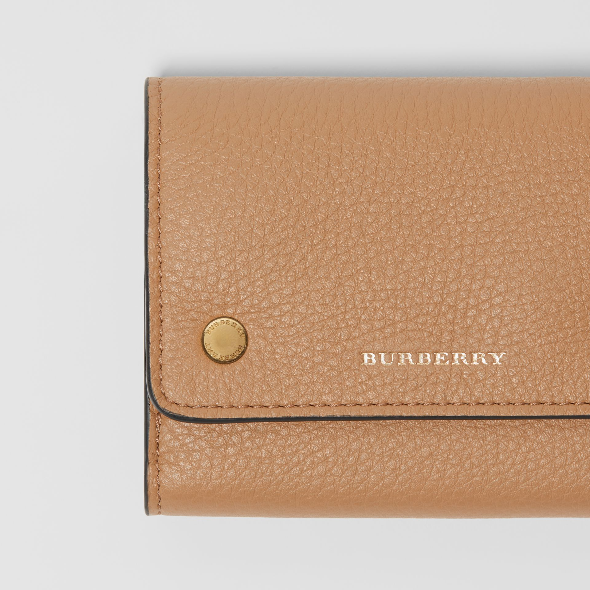 Small Leather Folding Wallet in Light Camel - Women | Burberry - gallery image 1