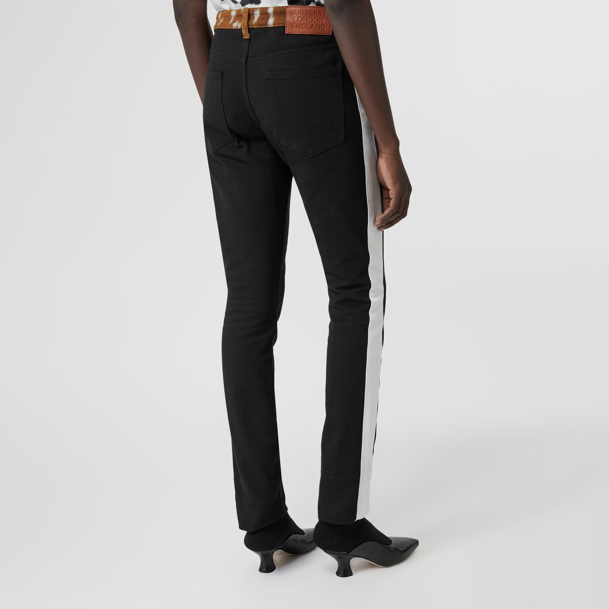 Straight Fit Deer Print Trim Japanese Denim Jeans in Black - Women | Burberry - 3