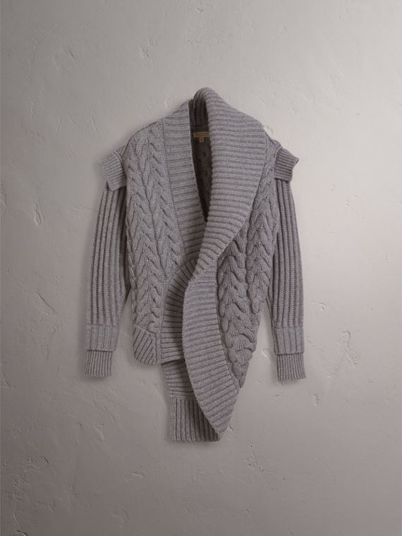 Cable Knit Cashmere Asymmetric Cardigan in Grey Melange - Women | Burberry - cell image 3