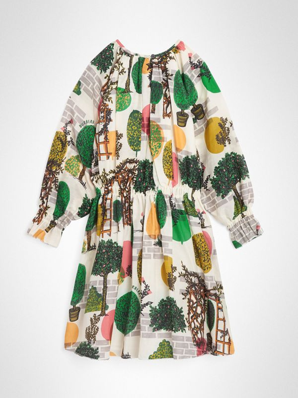 Tree Print Cotton Silk Dress in Natural White | Burberry Australia - cell image 3
