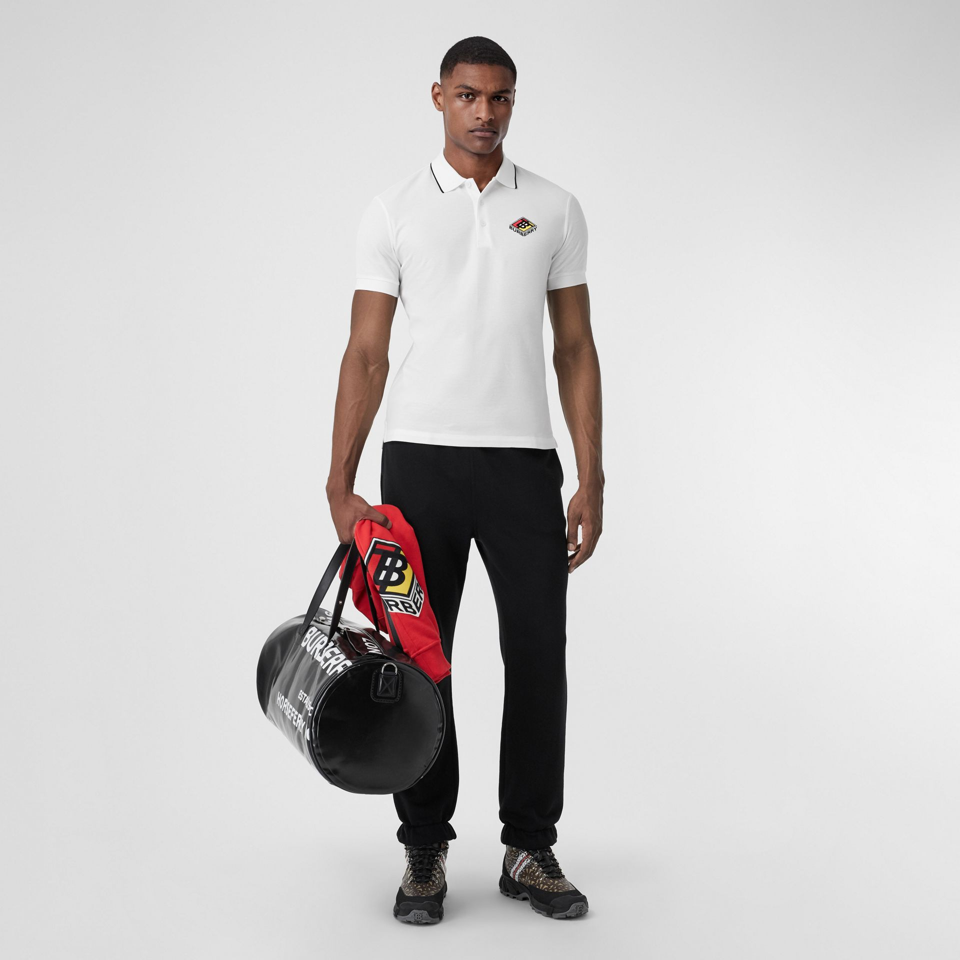 Logo Graphic Cotton Piqué Polo Shirt in White - Men | Burberry - gallery image 0