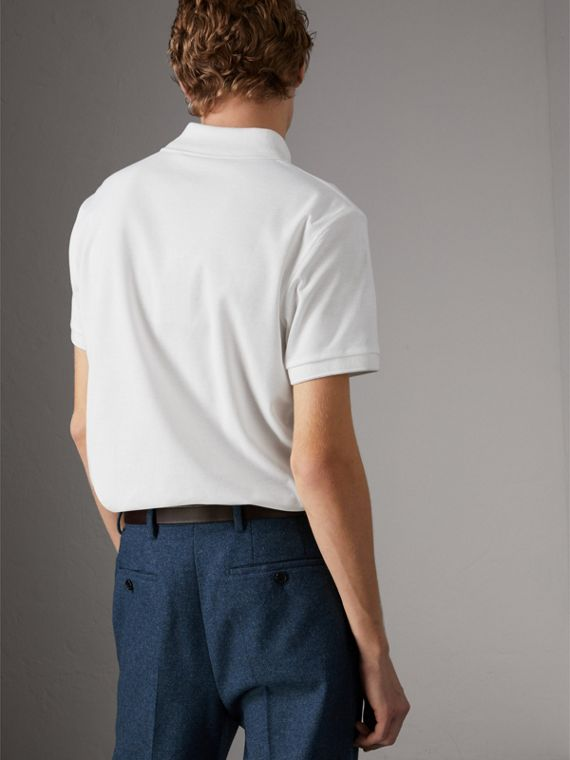 Cotton Piqué Polo Shirt in White - Men | Burberry Singapore - cell image 2