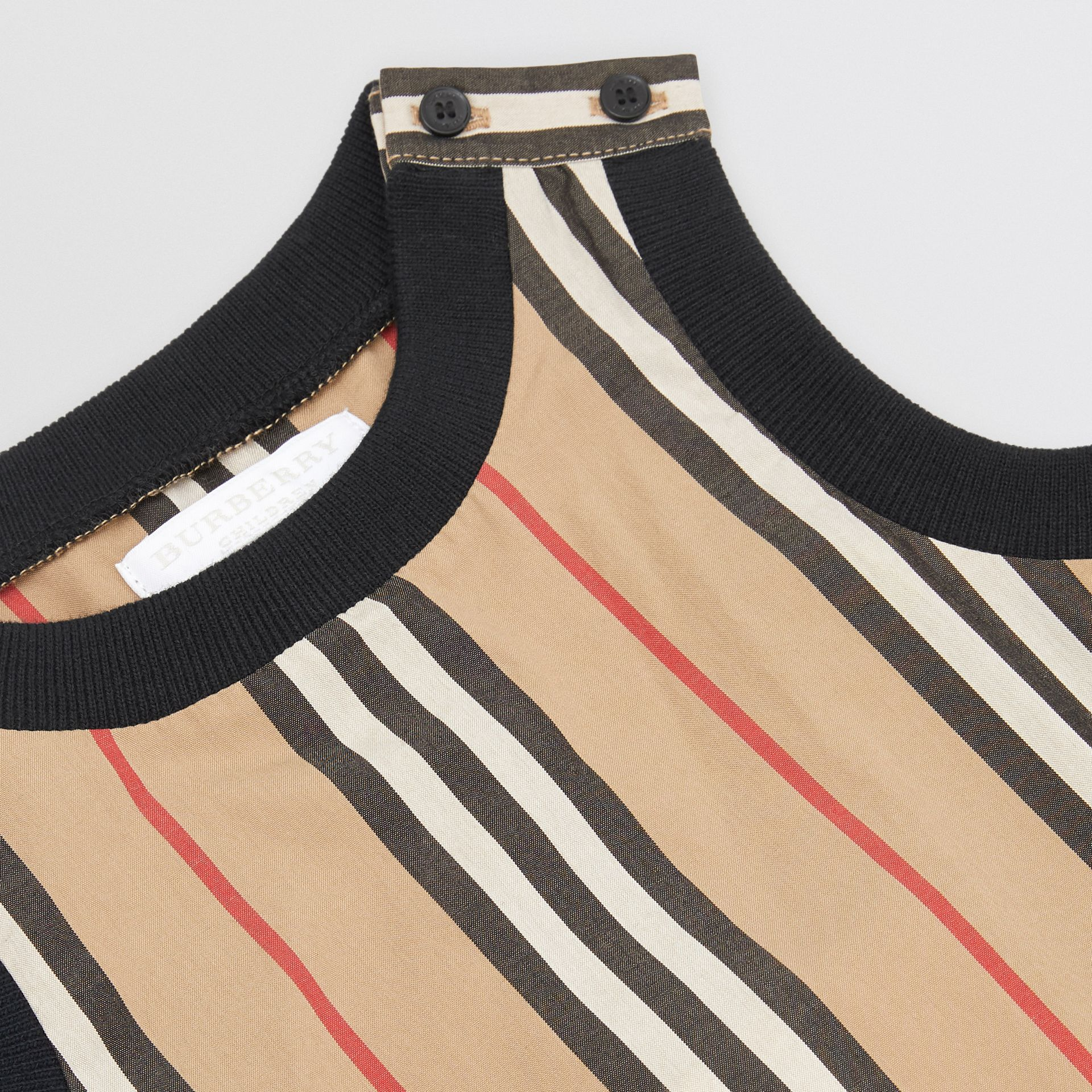 Icon Stripe Cotton Bodysuit in Archive Beige - Children | Burberry Singapore - gallery image 1