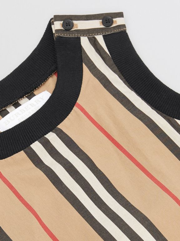 Icon Stripe Cotton Bodysuit in Archive Beige - Children | Burberry Singapore - cell image 1
