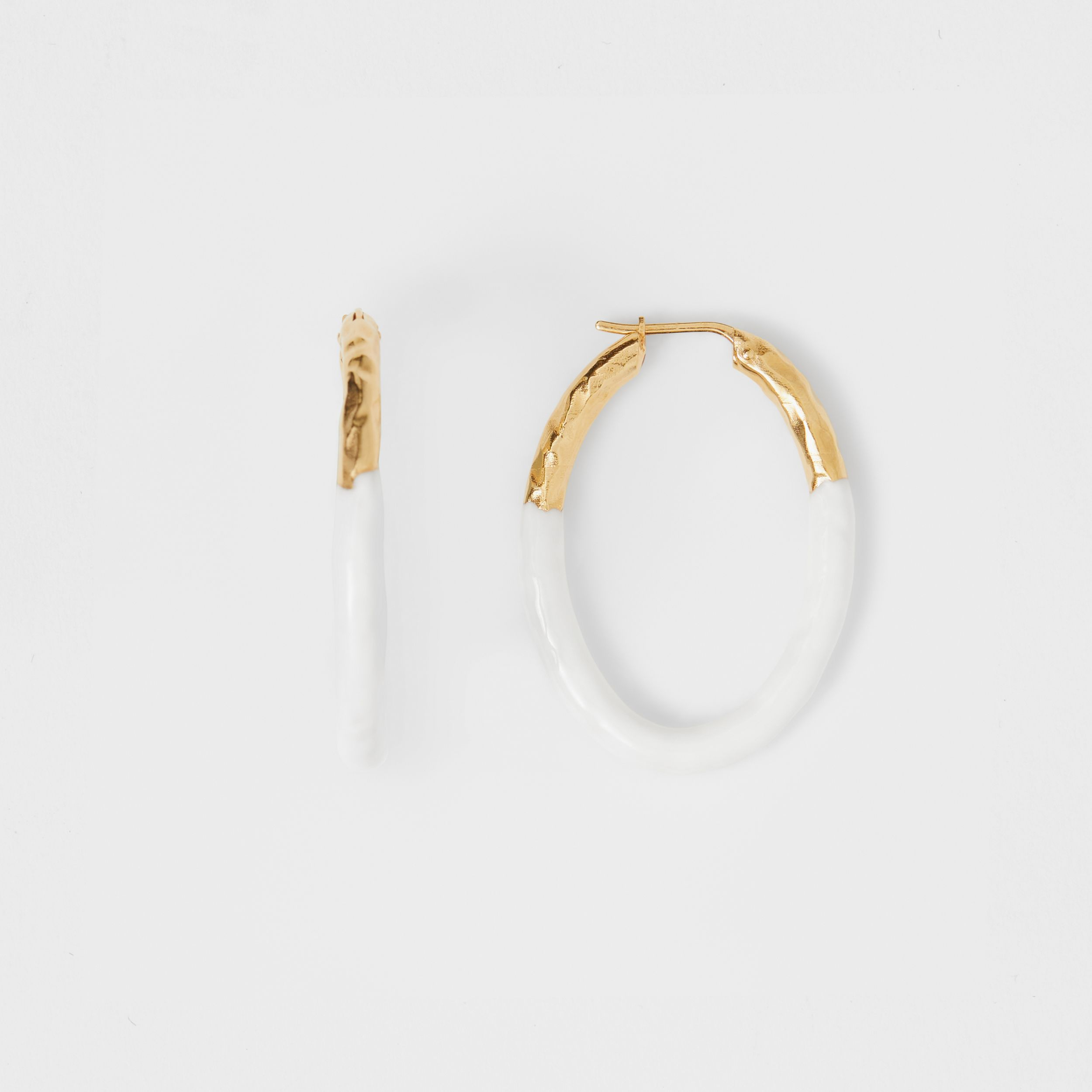 Enamel and Gold-plated Hoop Earrings in Light Gold/white - Women | Burberry - 4