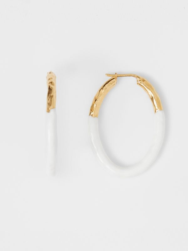 Enamel and Gold-plated Hoop Earrings in Light Gold/white - Women | Burberry United Kingdom - cell image 3