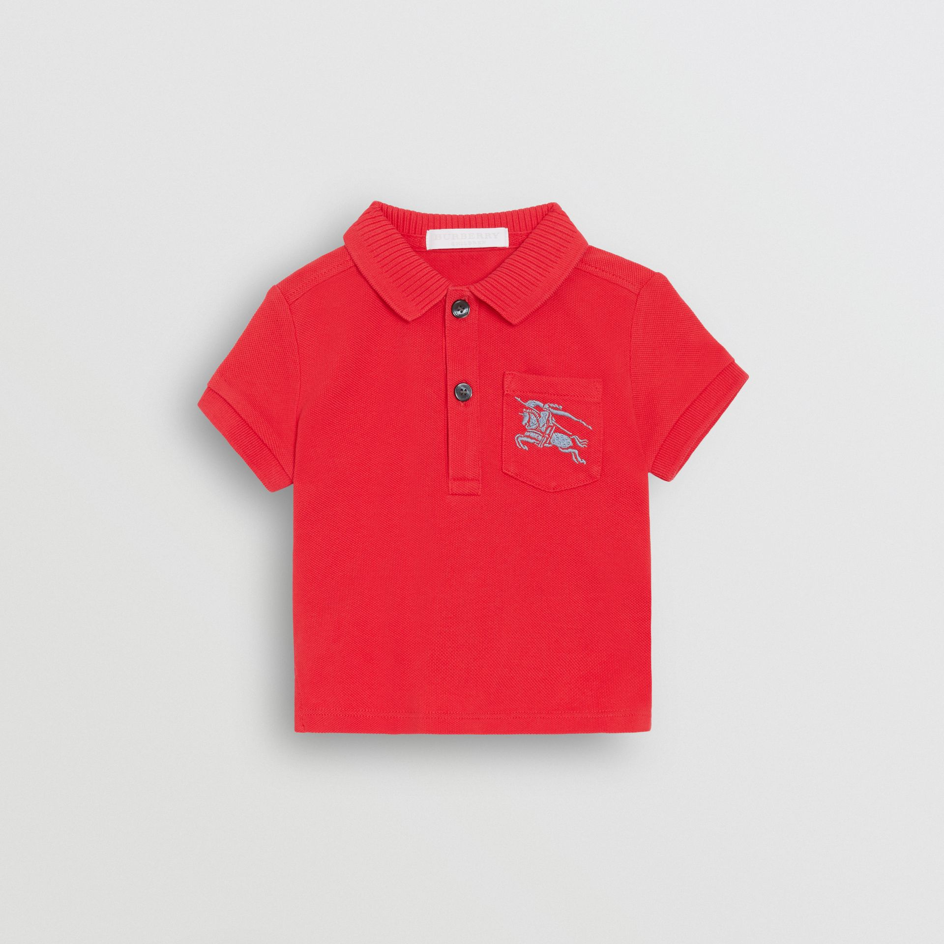 EKD Logo Cotton Piqué Polo Shirt in Bright Red - Children | Burberry - gallery image 0