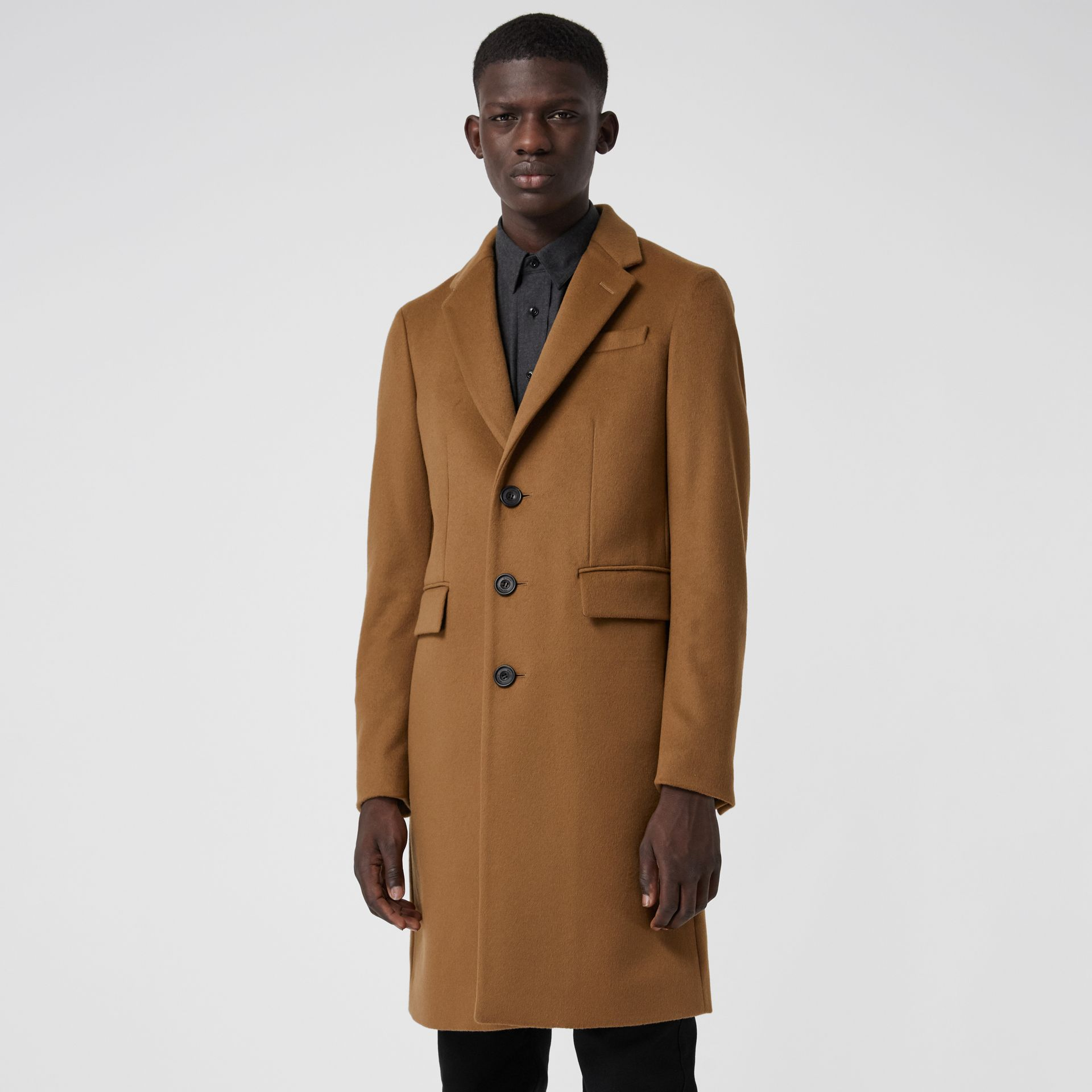 Wool Cashmere Tailored Coat in Dark Camel - Men | Burberry Australia - gallery image 5