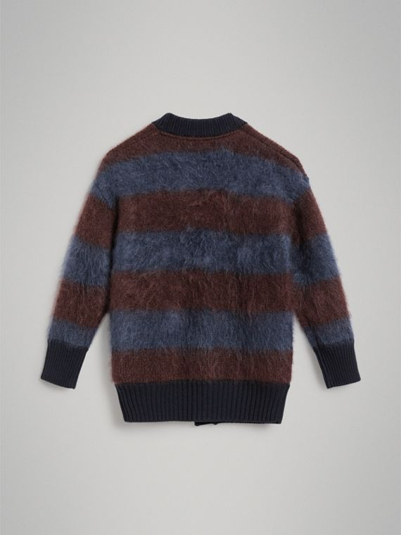 Tri-tone Striped Mohair Blend Cardigan in Burgundy - Girl | Burberry Australia - cell image 3