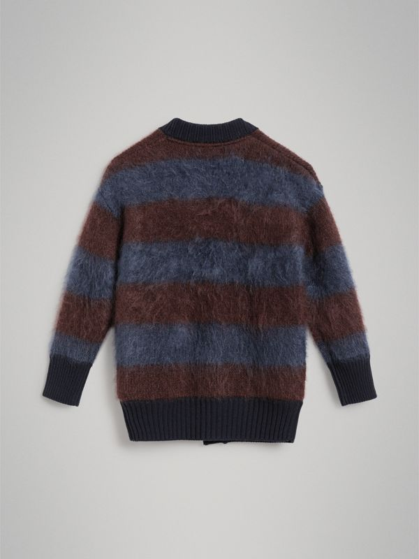 Tri-tone Striped Mohair Blend Cardigan in Burgundy - Girl | Burberry - cell image 3
