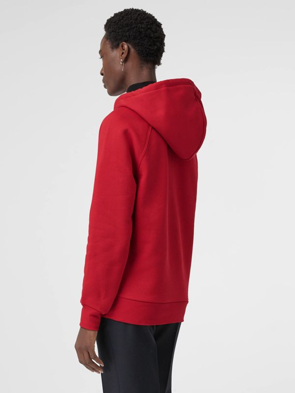 Embroidered Archive Logo Oversized Hoodie in Bright Red - Women | Burberry - cell image 2