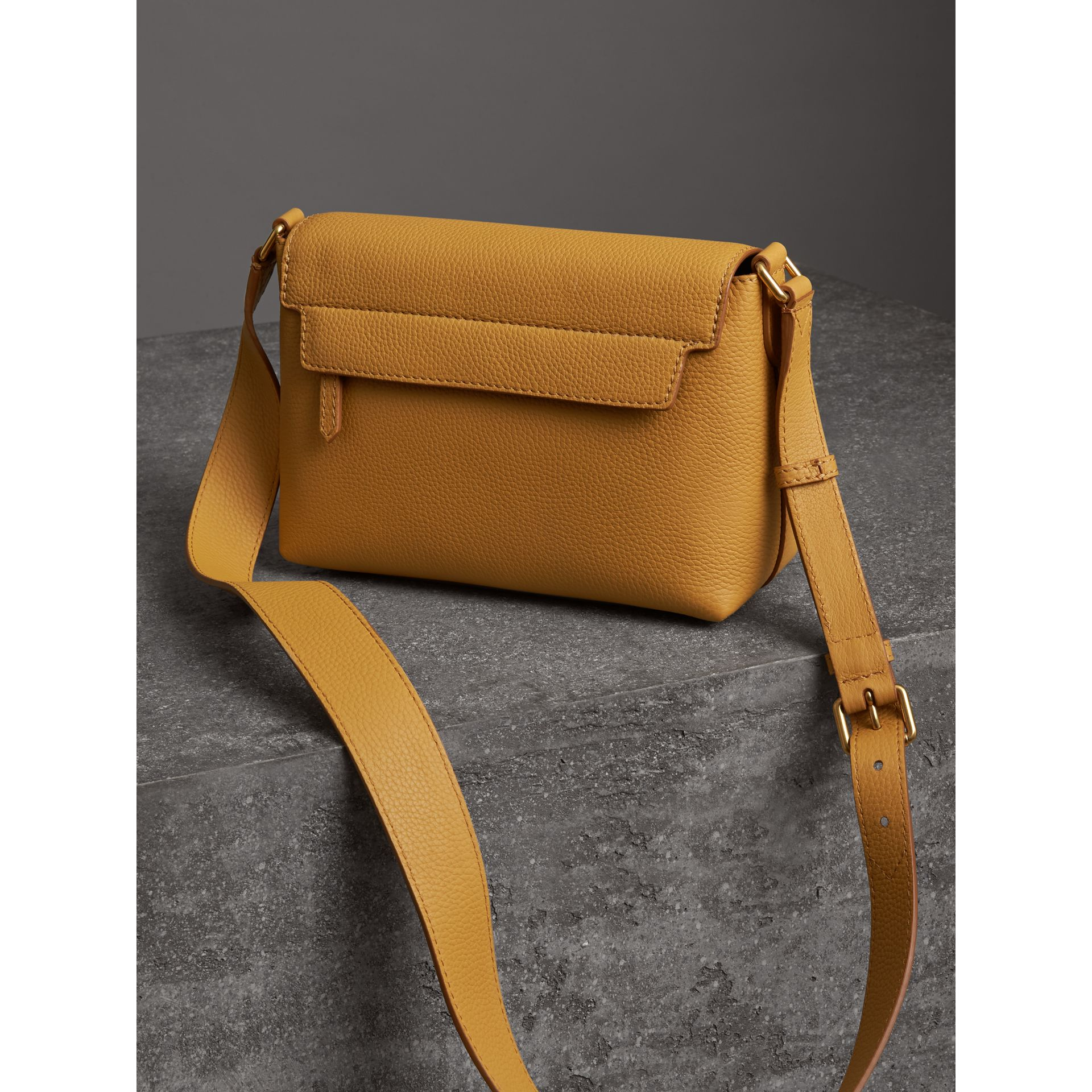 Small Embossed Leather Messenger Bag in Ochre Yellow - Women | Burberry Australia - gallery image 2