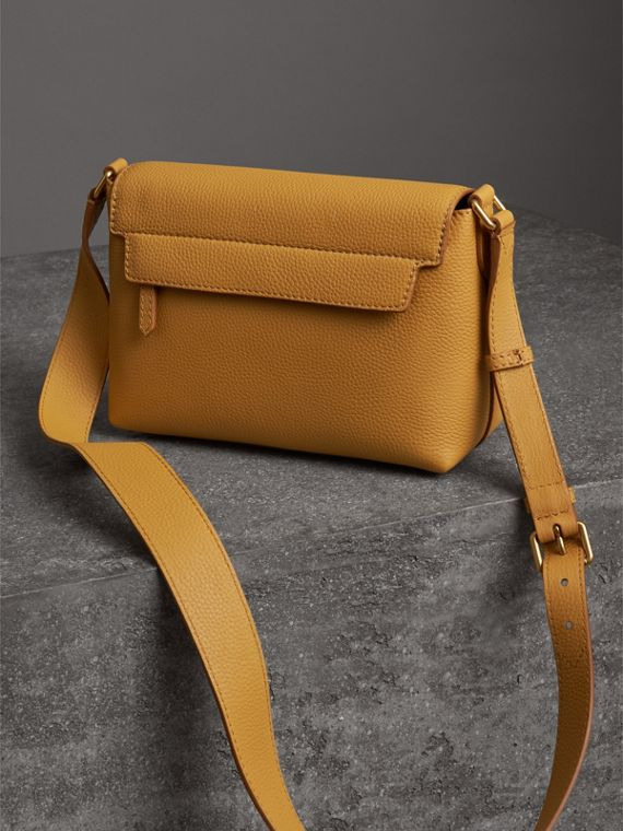 Small Embossed Leather Messenger Bag in Ochre Yellow - Women | Burberry Australia - cell image 2