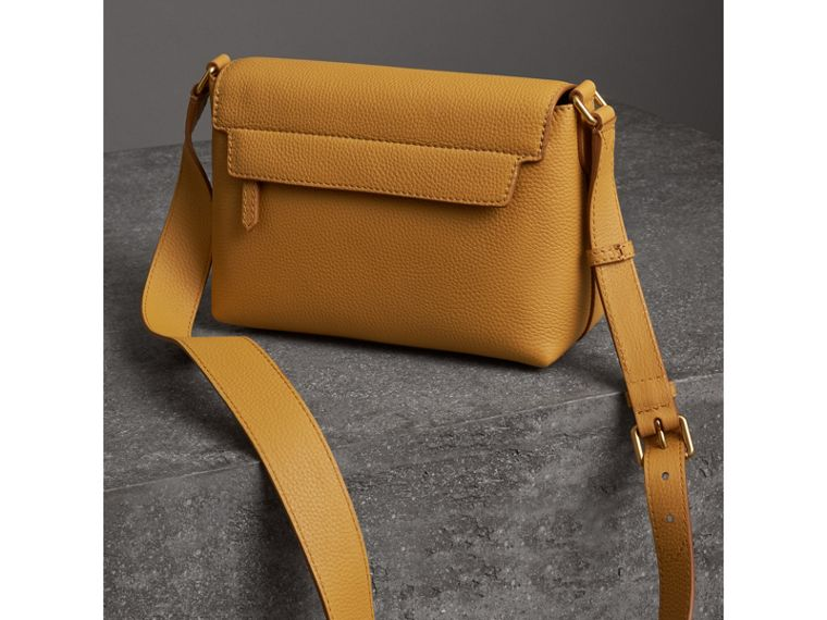 Small Embossed Leather Messenger Bag in Ochre Yellow - Women | Burberry - cell image 4