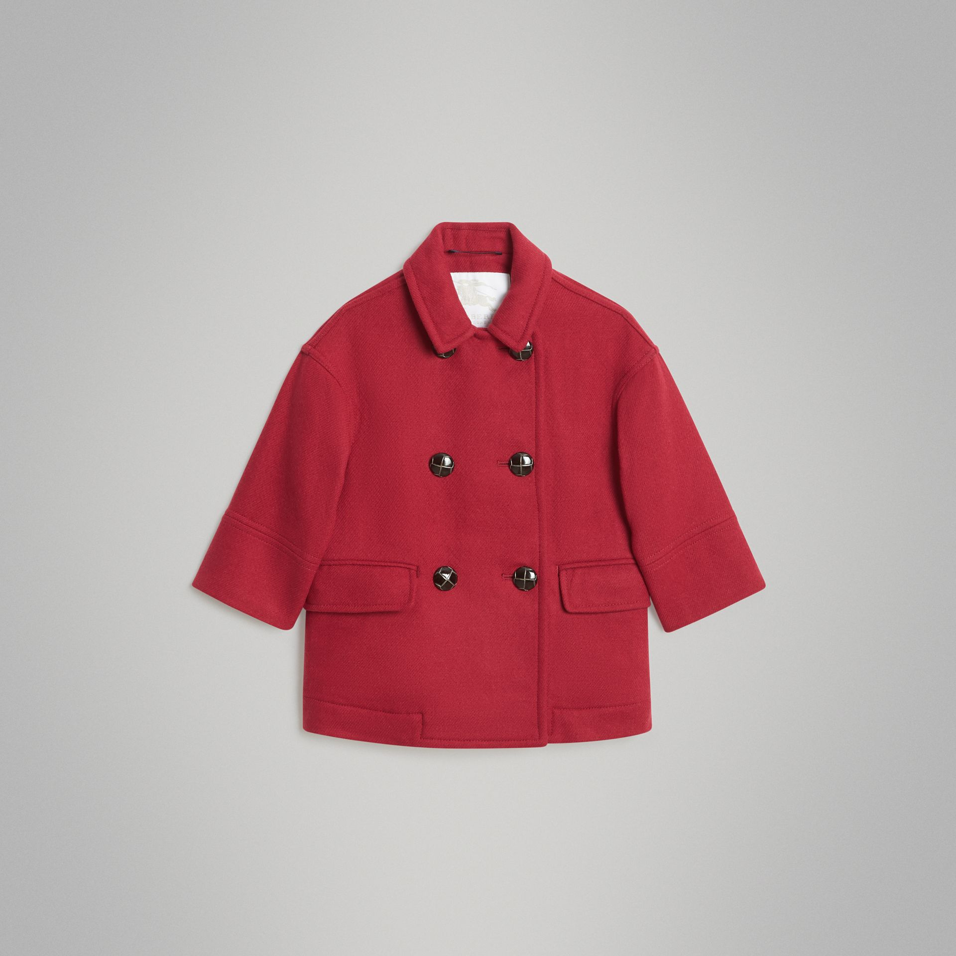 Double-faced Wool Pea Coat in Windsor Red | Burberry Canada - gallery image 0
