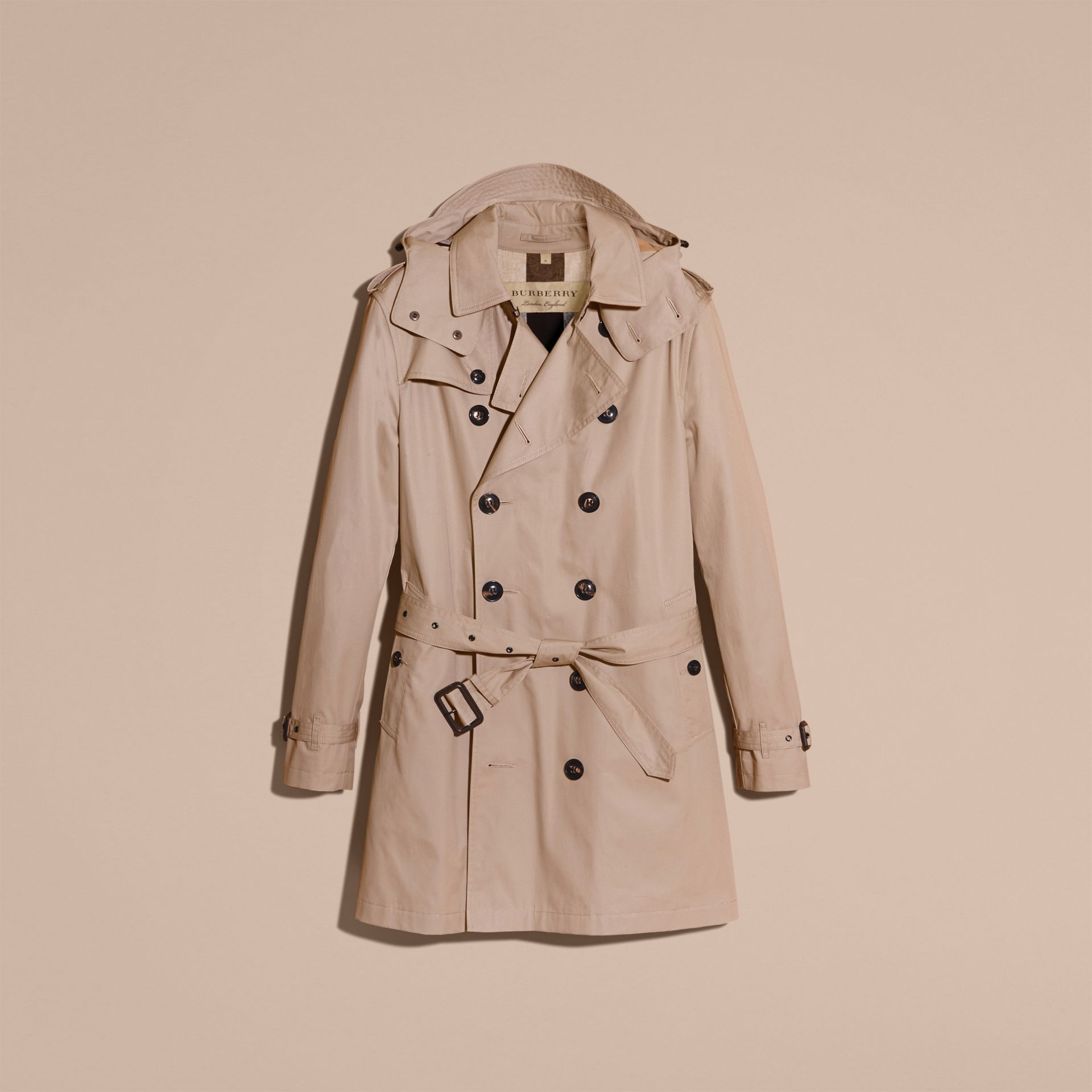 Taupe Trench-coat en coton à capuche amovible Taupe - photo de la galerie 4