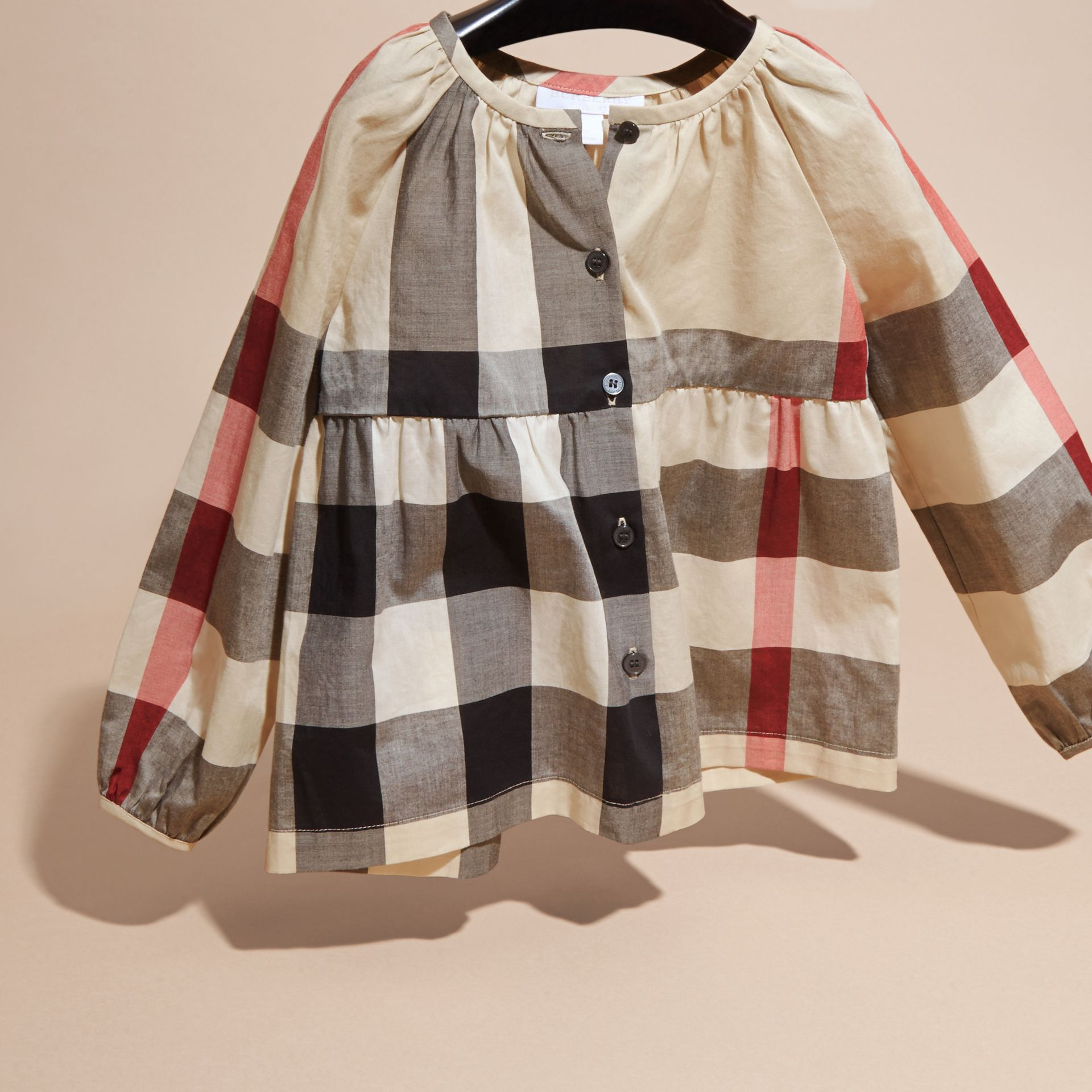 New classic check Puff Sleeve Check Cotton Blouse New Classic - gallery image 3