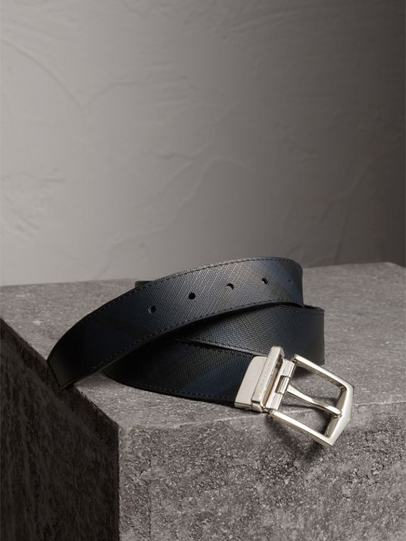 Reversible London Check and Leather Belt in Navy/black